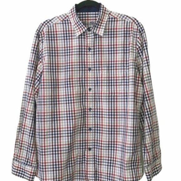 Tasso Elba Plaid Check Button Up Shirt